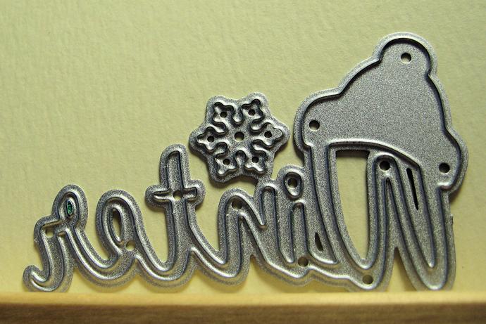 Winter Word Cutting Die with Hat & Snowflake