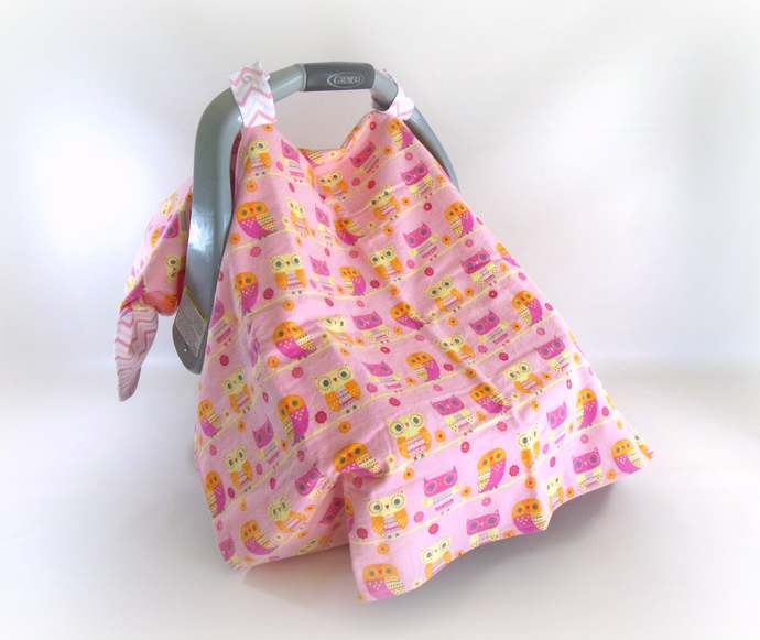 Owl & Pink Chevron Flannel Car Seat Canopy, Owl Pink Chevron Baby Car Seat