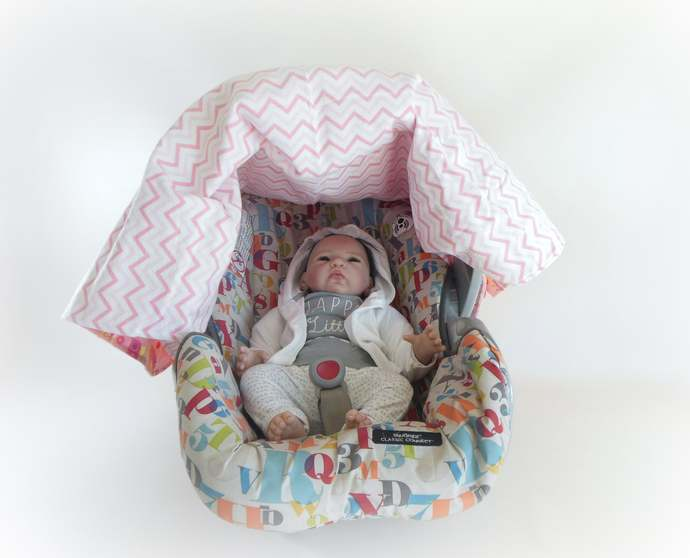 WINTER SALE 25% OFF Owl & Pink Chevron Flannel Car Seat Canopy, Owl Pink Chevron