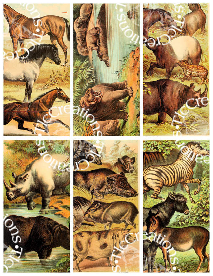 Vintage Animals in Nature Set 2 Printable Cut Apart Sheets ATC Cards Journal