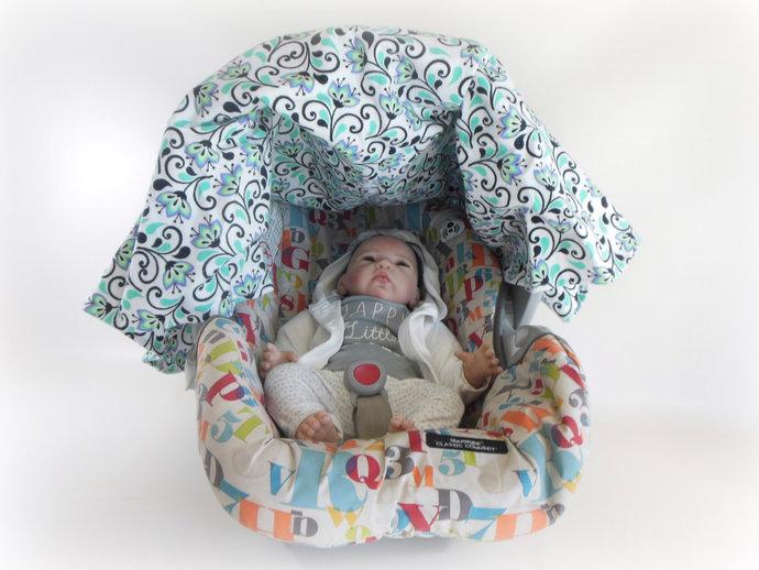 Purple Flower Flannel Car Seat Canopy, Purple Flower Baby Car Seat Cover, Purple