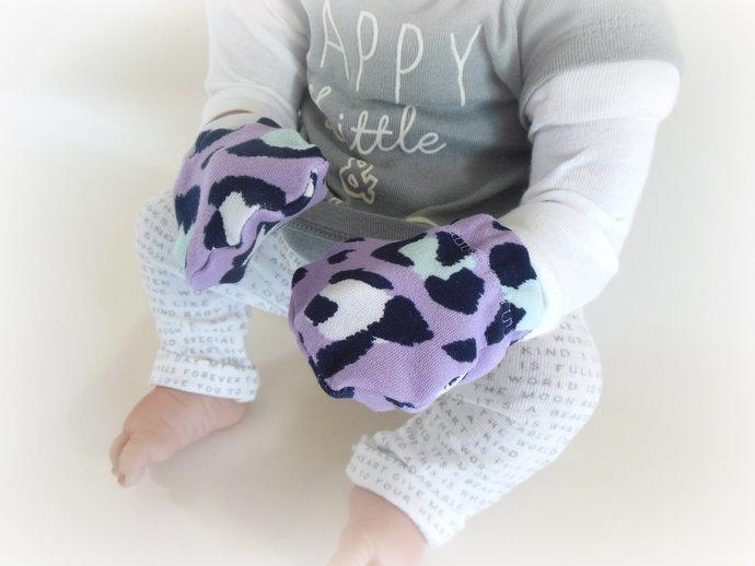 Purple Leopard Swaddle Sack, Leopard Baby Scratch Mittens, Leopard Baby Tie-Knot