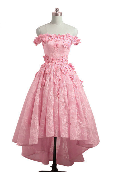 Pink Lovely Lace High Low Formal Dress, Pink Graduation Dress Prom Dress