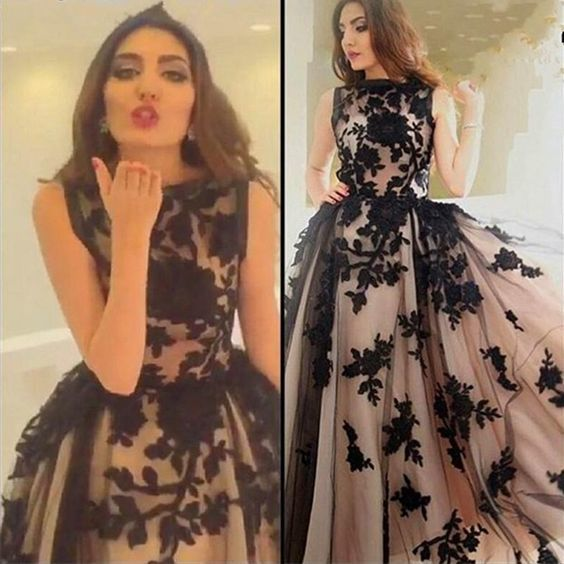 black Lace Applique prom dresses 2021 sleeveless vintage a line elegant prom