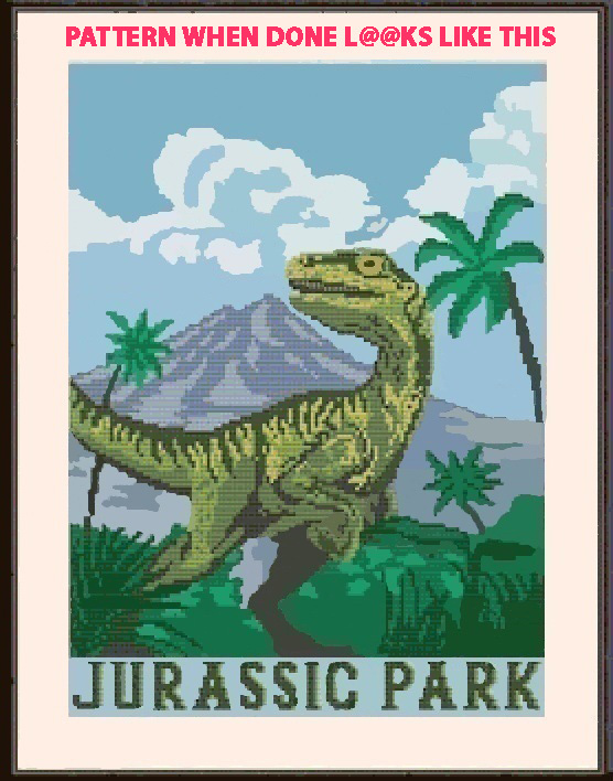 Jurassic Park Cross Stitch Pattern***L@@K***X***INSTANT DOWNLOAD***