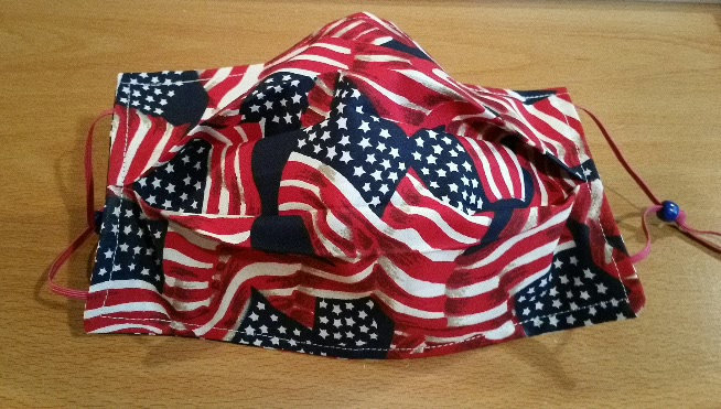 Pleated Face Mask - Patriotic - Flags