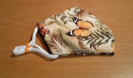 Face Mask - 100% Cotton - Beige Butterfly Fabric