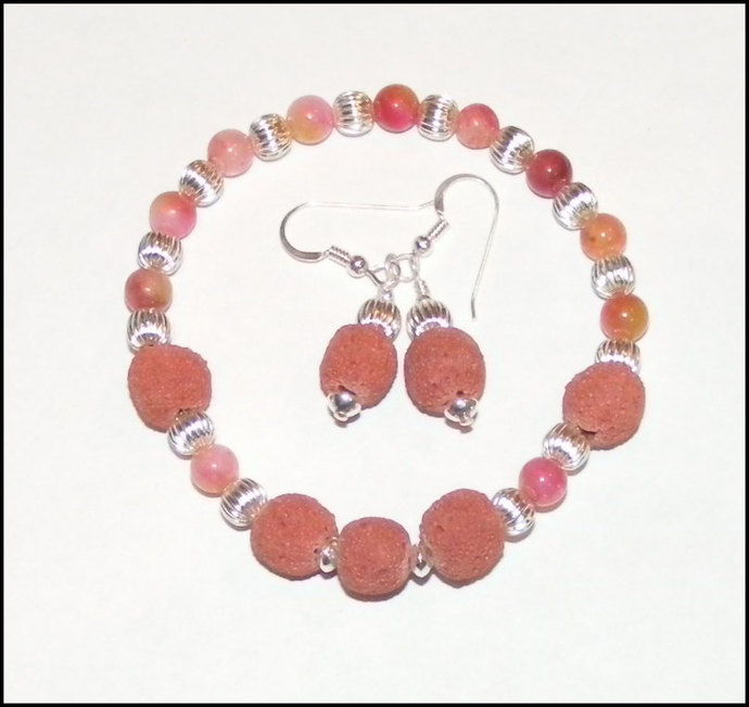 Oil Diffuser Jewelry - Matching Lava Rock and Earrings Set