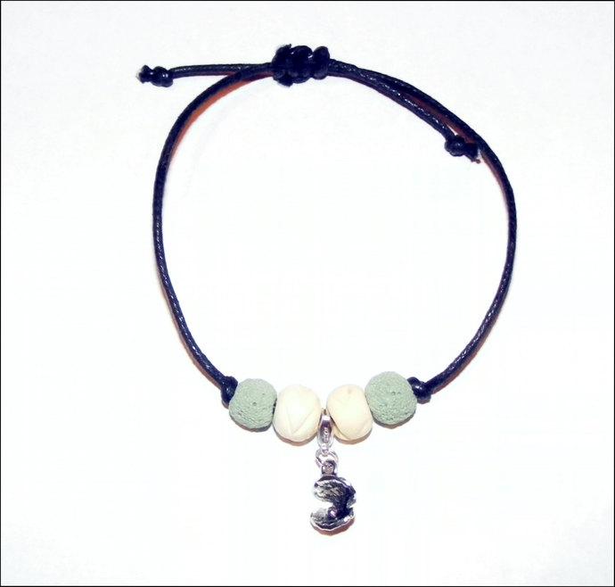 Adjustable Lava Rock oil diffuser bracelet with charm