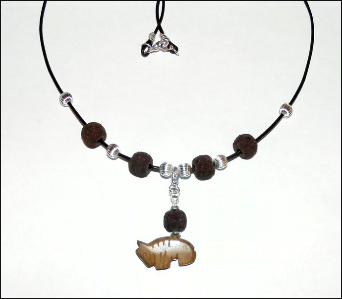 Oil Diffuser Lava Rock Necklace with Removable Buffalo Fetish Charm