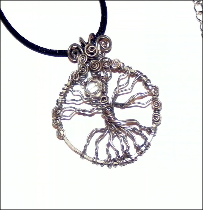 Sterling Silver Sleeping Tree of Life Pendant Necklace with Genuine Herkimer