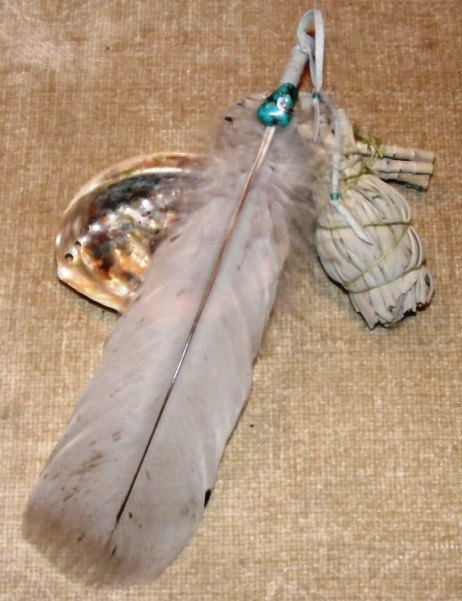 Smudge Feather with Turquoise Gemstone Accent