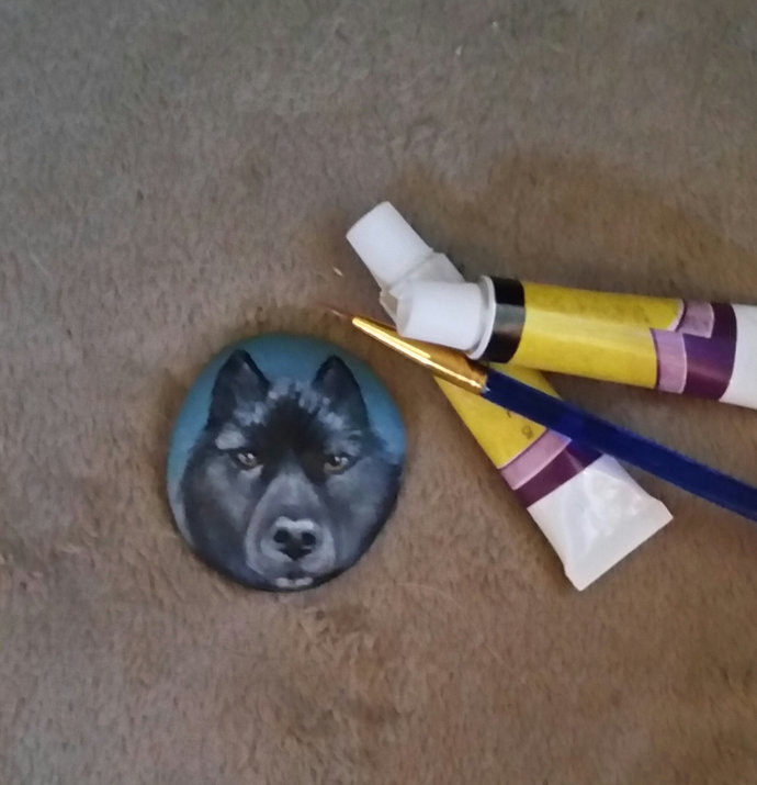 Where art thou Romeo - Hand painted rock - Black Wolf