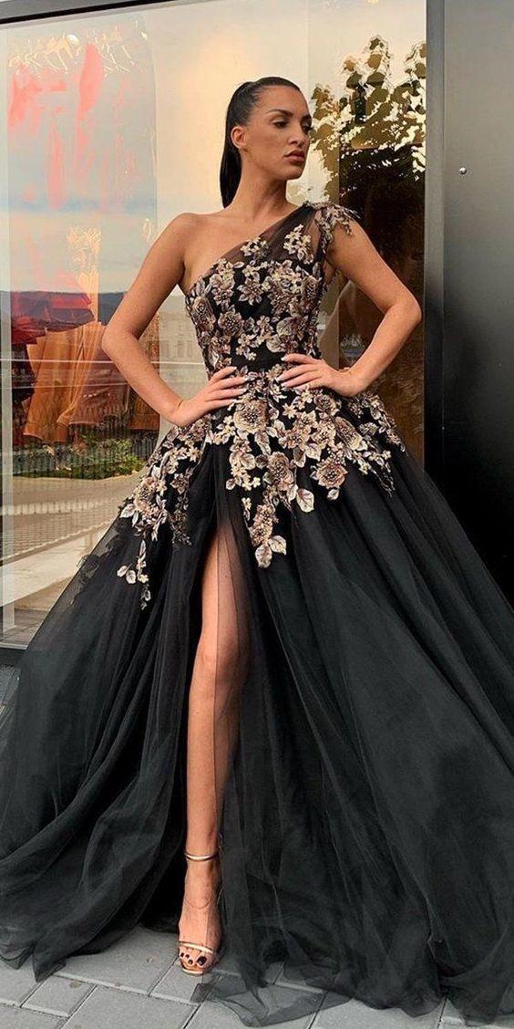 vintage prom dresses 2020 one shoulder embroidery appliqué elegant tulle a-line