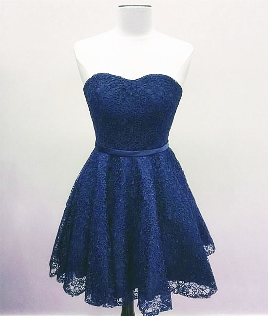 Blue Lace Sweetheart Bridesmaid Dress, Blue Homecoming Dress