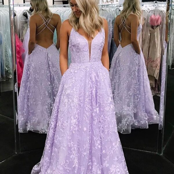 purple prom dresses lace applique a-line backless sexy formal prom gown vestido