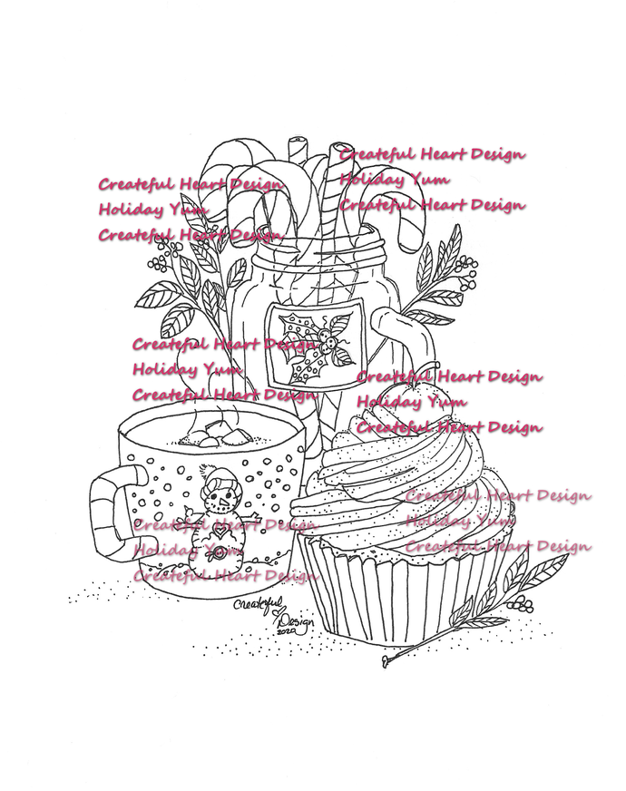 Holiday Yum, digital image, craft supply, outlined image, stamp