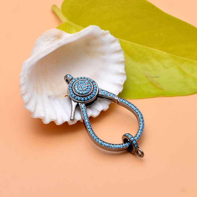 Pave turquoise lobster design clasp, 925 sterling silver turquoise clasp with