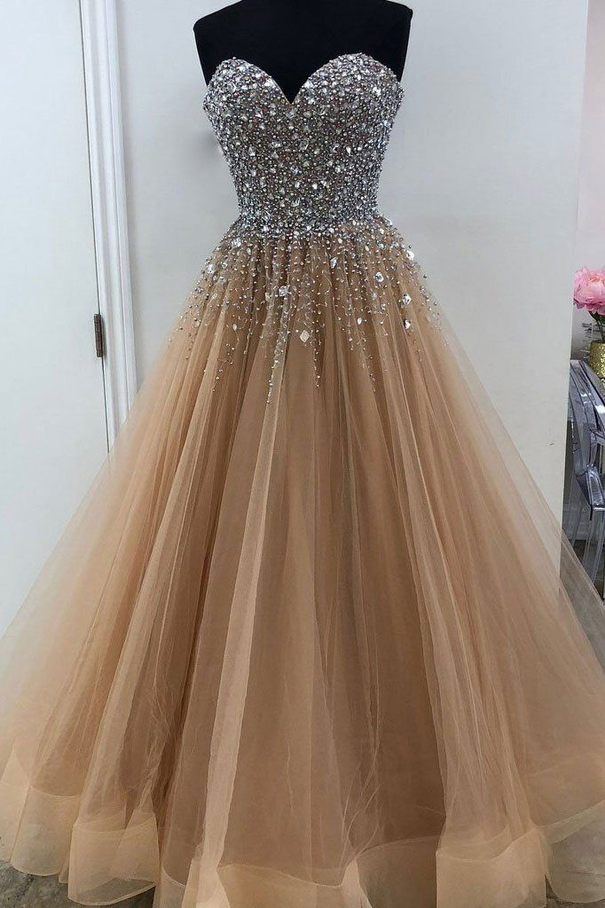 Elegant Tulle Champagne Crystal Prom Dresses Women Evening Formal Dresses H3916