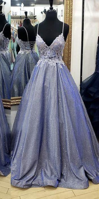 A Line V neck Prom Dresses Appliques Women Evening Formal Dresses H3908
