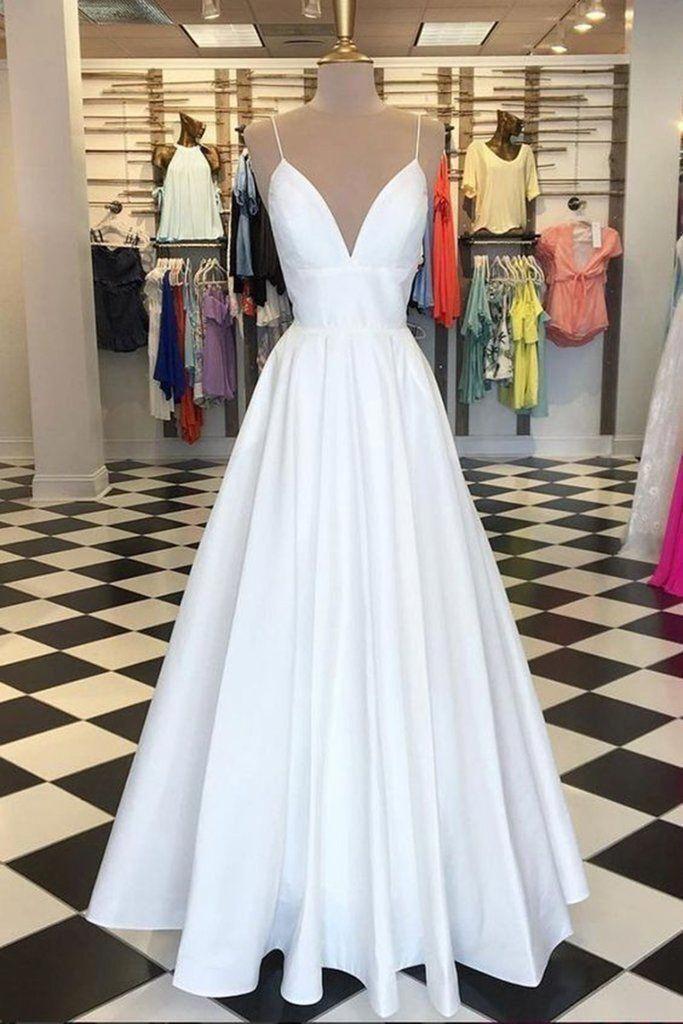 White A Line V neck Prom Dresses Women Evening Formal Dresses H3902