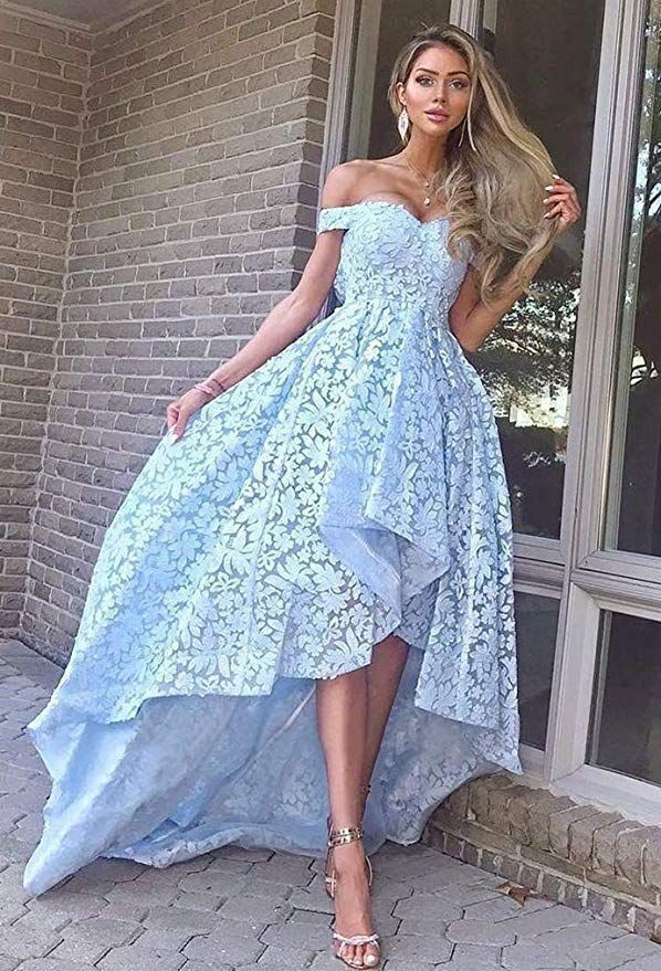 Lace Prom Dresses Off Shoulder Hi-low Evening Party Gown H3897