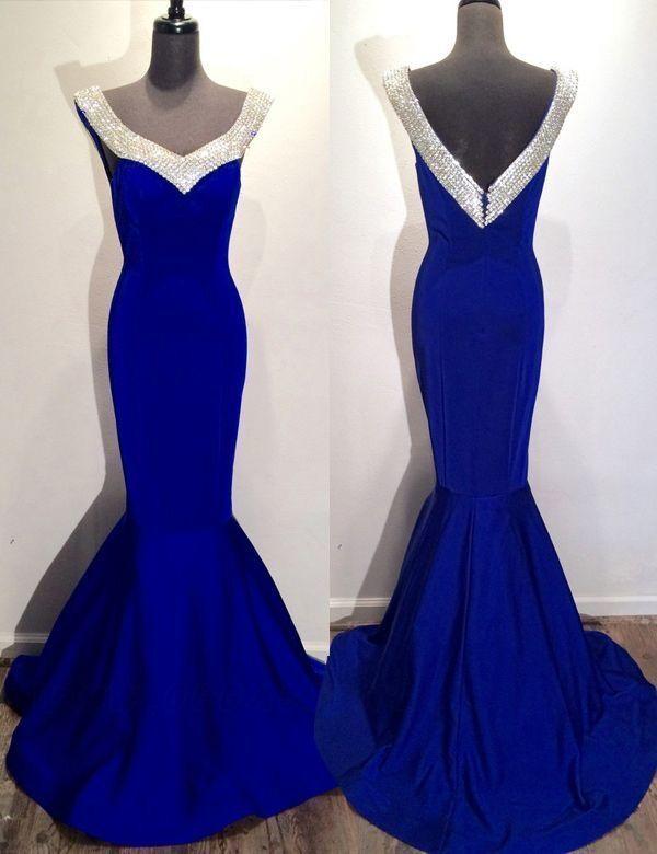 Women's Mermaid Evening Formal Dresses Roayl Blue Long Prom Dresses H3889