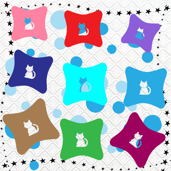 Color Pillows 14 Cat-Digital Clipart-Art Clip-Butterfly-Gift Cards-Banner-Gift