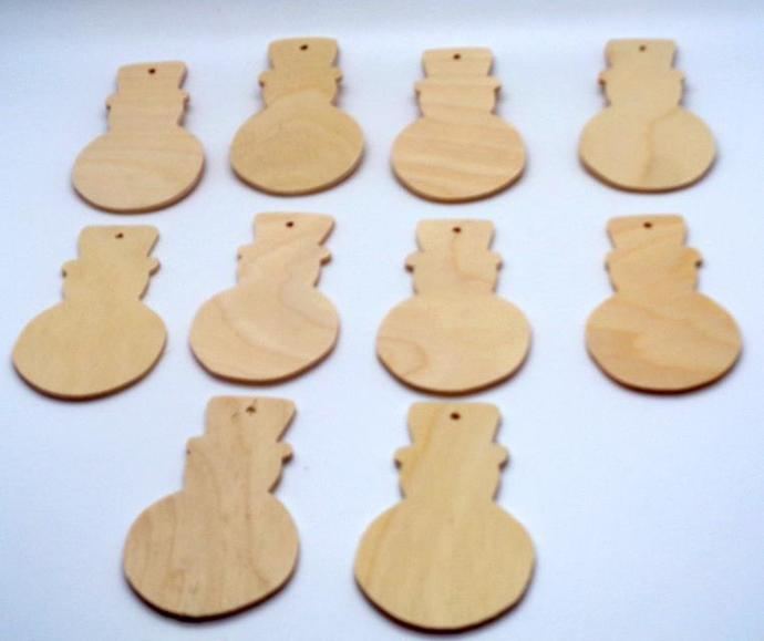 Pkg of 10 Snowman  Christmas Ornaments  CO-45-18 Unfinished wood