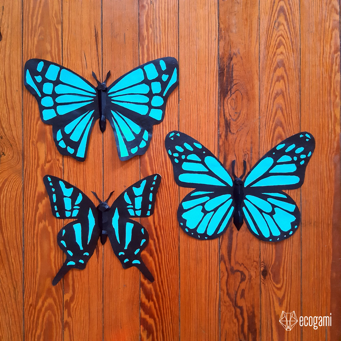 Butterfly papercraft sculptures, printable 3D puzzle, papercraft Pdf template to
