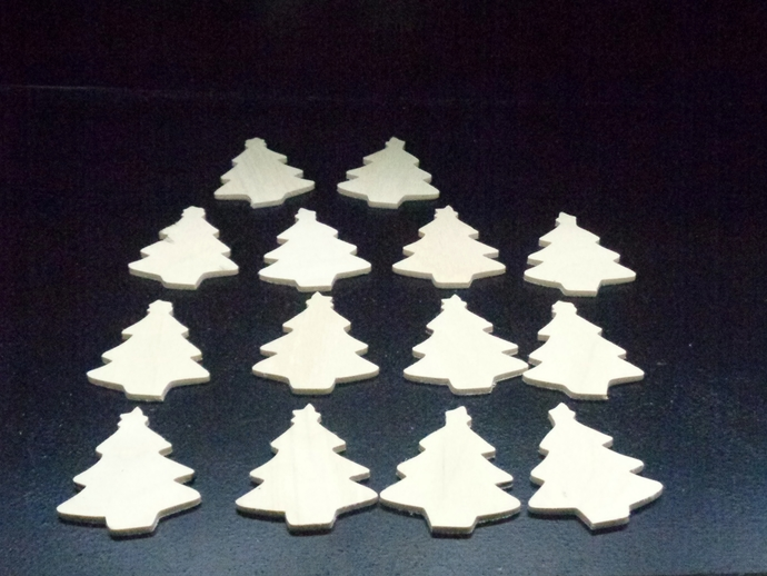 Pkg of 14  Christmas Tree Unfinished Wood Cutouts WCO-14-18