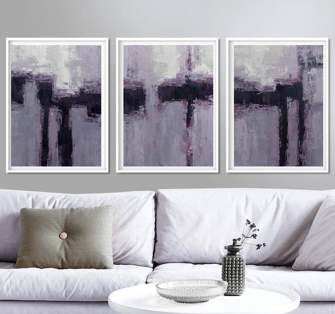 Abstract Paintings, Lilac set of 3, Large Wall Art, Modern Painting, Modern Art,
