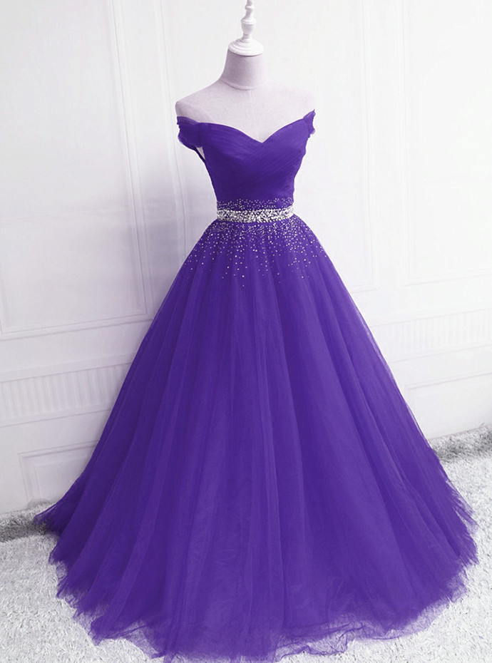 Lovely Tulle Sequins Long Purple Junior Prom Dress, New Style Formal Dress 2021