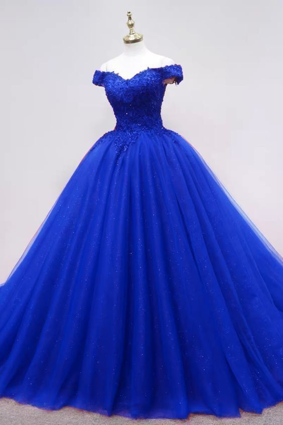 Elegant Royal Blue Tulle Quinceanera Dresses Apliques Formal Evening Gowns for