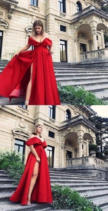 Off Shoulder Red Evening Dresses, Long Prom Gown, Split Slit Prom Dresses H3940