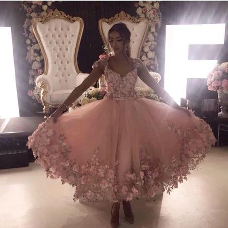 Elegant Cap Sleeve Pink Prom Dress with Handmade Flower, Long Prom Gown, Prom