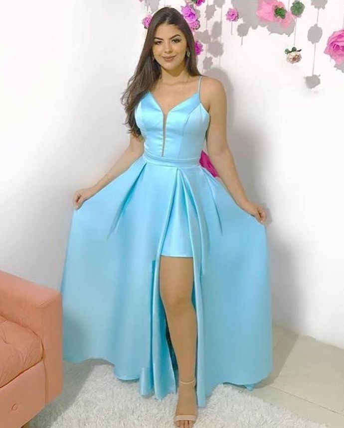 Spaghetti Straps Evening Dresses, Long Prom Gown, Blue Prom Dresses H3949