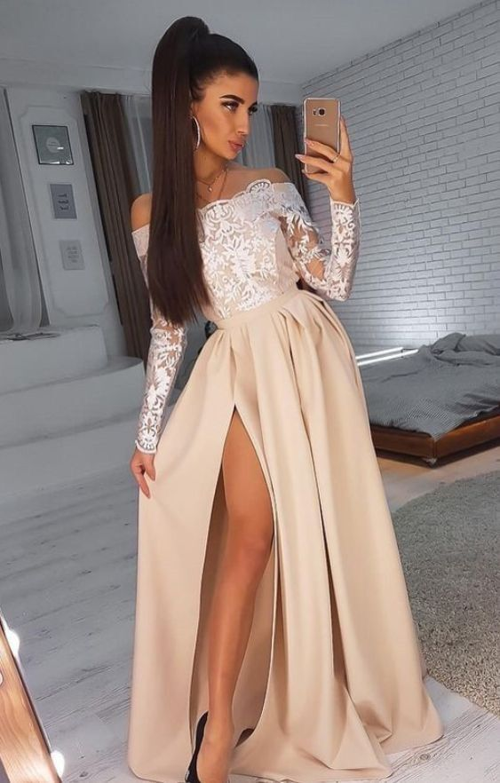 Long Sleeve Evening Dresses, Long Prom Gown, Split Slit Prom Dresses H3952