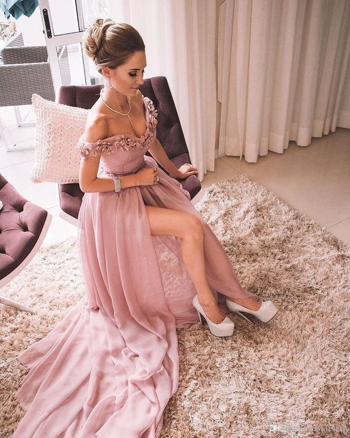 Off Shoulder Pink Split Slit Prom Dresses with Handmade Flower, Wedding Party