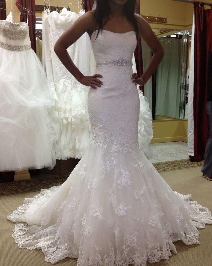 Mermaid Wedding Dresses Strapless Tulle Appliques Formal Bride Dresses H3965