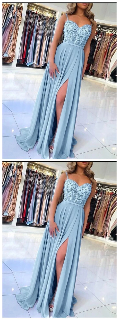 Light Blue Prom Dress with Slit, Evening Dress ,Winter Formal Dress, Pageant
