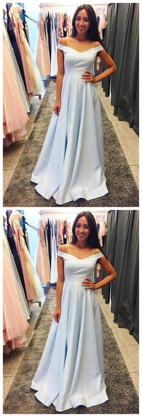 Light Blue Prom Dress, Evening Dress ,Winter Formal Dress, Pageant Dance