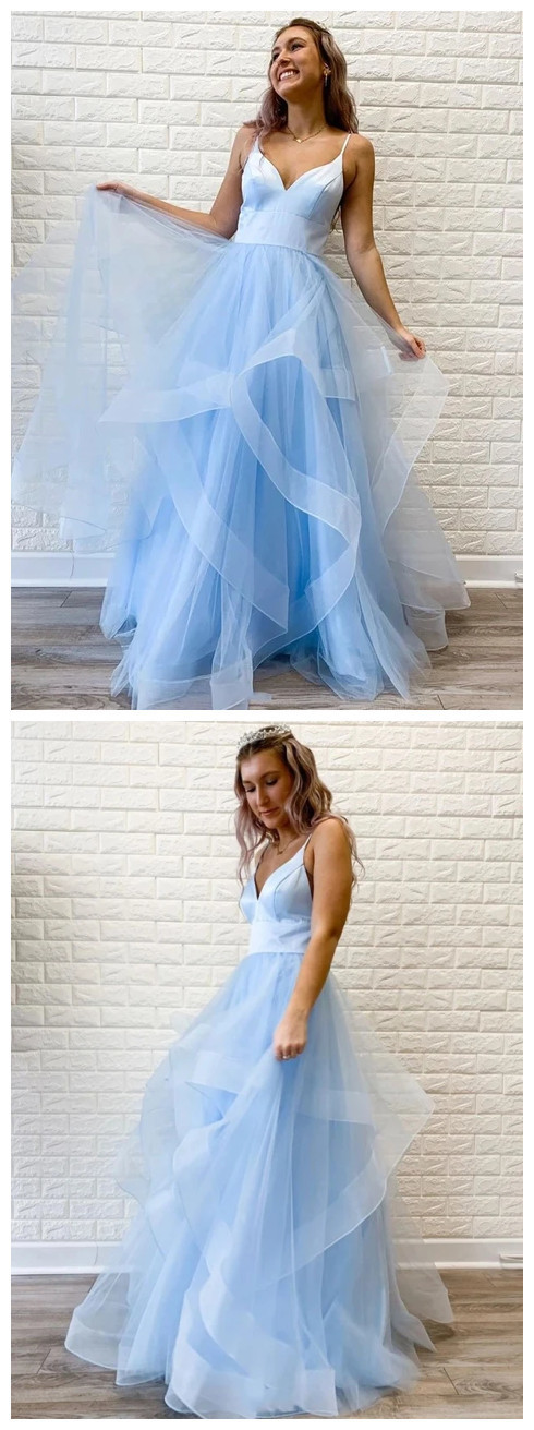 Light Blue Prom Dress, Prom Dresses, Evening Dress, Dance Dress, Graduation
