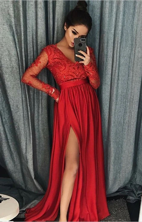 Long Sleeves Prom Dress with Slit, Evening Dress ,Winter Formal Dress, Pageant