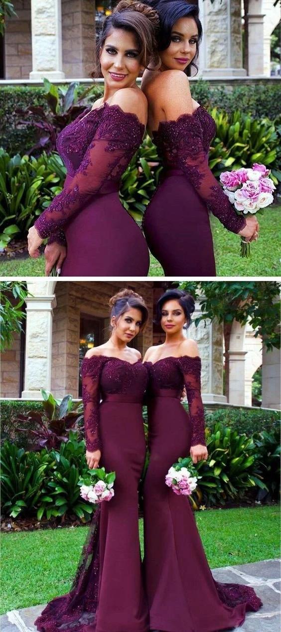 Mermaid Burgundy Prom Dress, Bridesmaid Dresses, Evening Dress ,Winter Formal