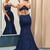 Mermaid Lace Prom Dress Navy Color, Evening Dress ,Winter Formal Dress, Pageant