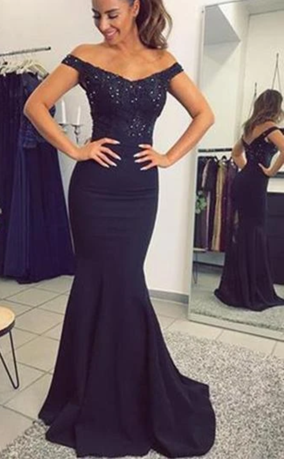 Mermaid Navy Prom Dress, Bridesmaid Dresses, Evening Dress ,Winter Formal Dress,