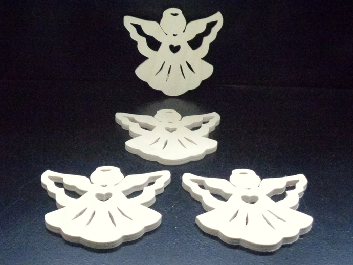 Pkg of 4 Fretwork Angels Unfinished Wood Cutouts WCO-17-25
