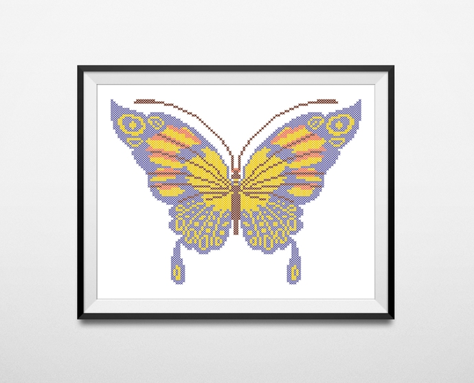#569 Butterfly Cross Stitch Pattern, easy counted cross stitch chart, nature