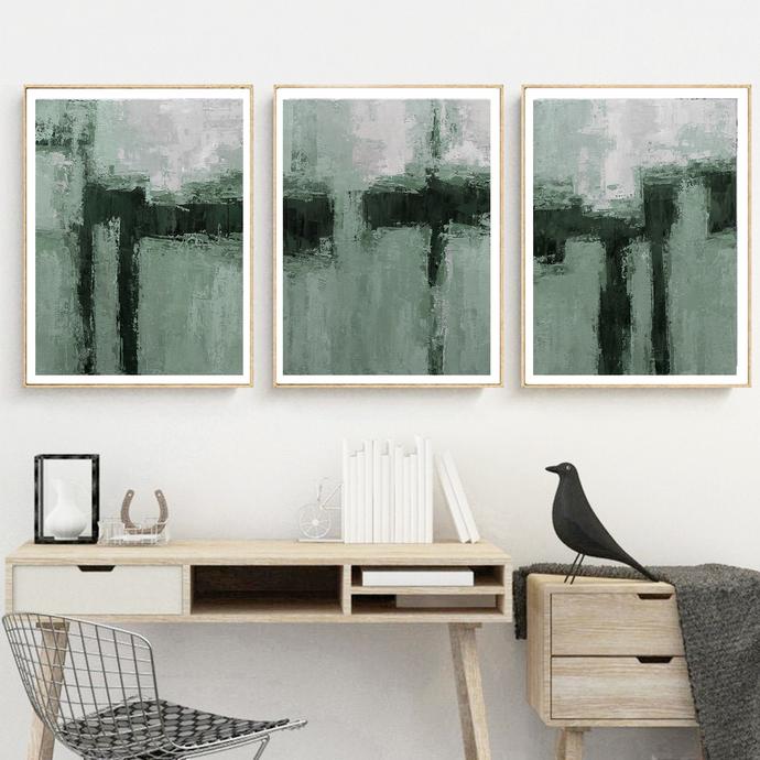 Green gray set Painting, Set of 3 Prints, Green Printable Art, Scandinavian Art,